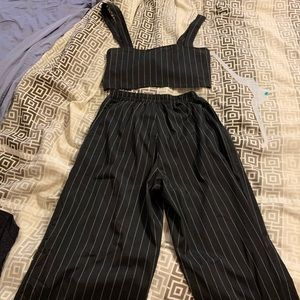 Crop top and striped pants set in medium.